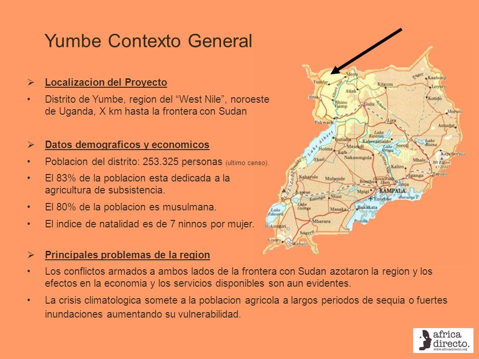 Yumbe Contexto General Localizacion del Proyecto Distrito de Yumbe, region del West Nile, noroeste de Uganda, X km hasta la frontera con Sudan Datos d