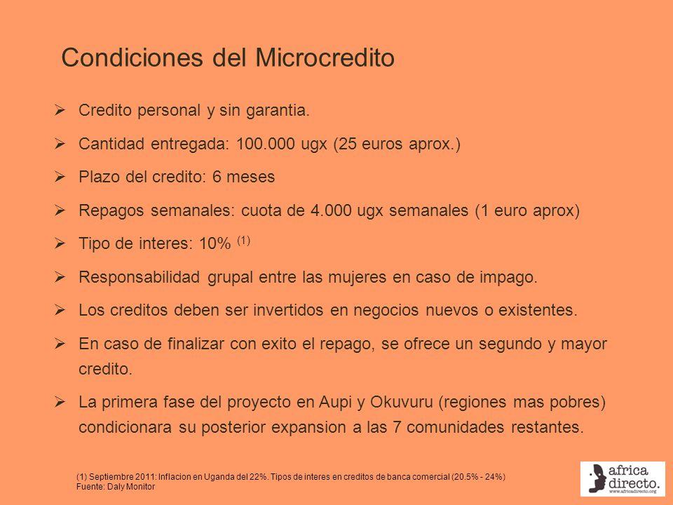 Condiciones del Microcredito Credito personal y sin garantia. Cantidad entregada: 100.000 ugx (25 euros aprox.) Plazo del credito: 6 meses Repagos sem