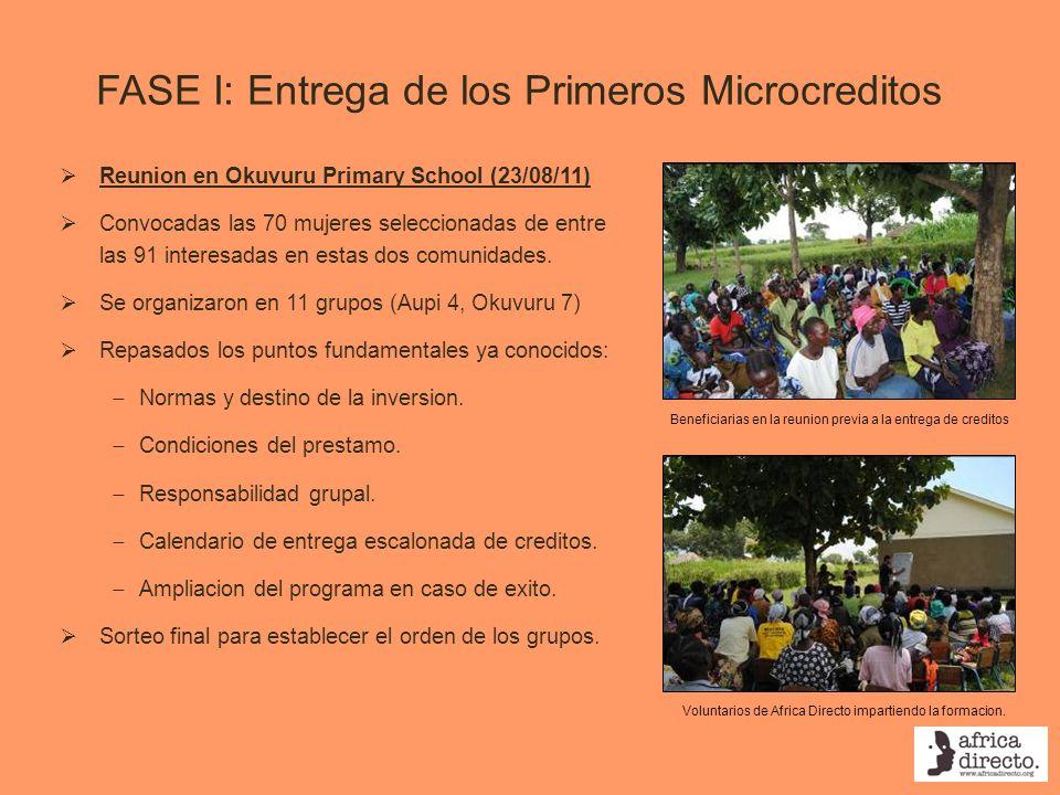 FASE I: Entrega de los Primeros Microcreditos Reunion en Okuvuru Primary School (23/08/11) Convocadas las 70 mujeres seleccionadas de entre las 91 int