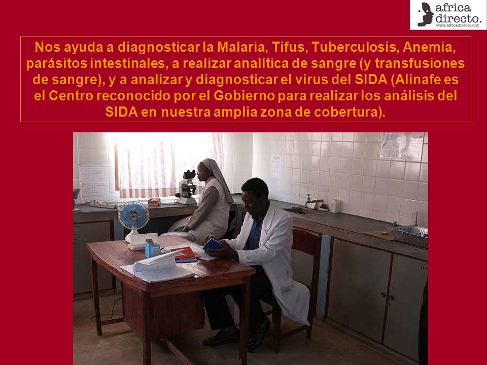 Nos ayuda a diagnosticar la Malaria, Tifus, Tuberculosis, Anemia, parásitos intestinales, a realizar analítica de sangre (y transfusiones de sangre), y a analizar y diagnosticar el virus del SIDA (Alinafe es el Centro reconocido por el Gobierno para realizar los análisis del SIDA en nuestra amplia zona de cobertura).