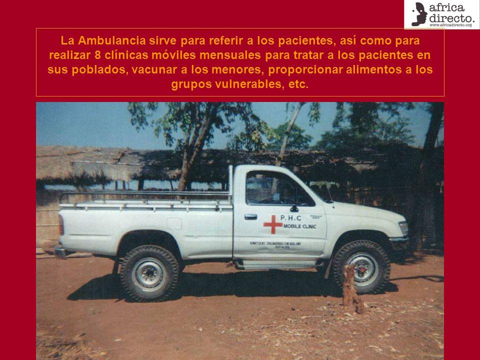 La Ambulancia sirve para referir a los pacientes, así como para realizar 8 clínicas móviles mensuales para tratar a los pacientes en sus poblados, vacunar a los menores, proporcionar alimentos a los grupos vulnerables, etc.