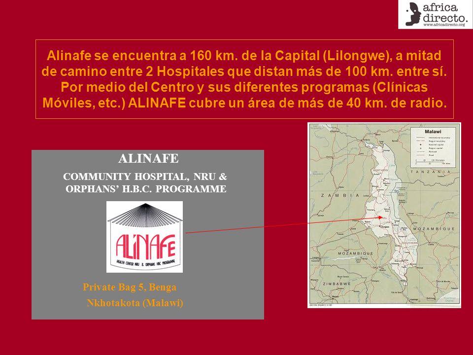 Alinafe se encuentra a 160 km. de la Capital (Lilongwe), a mitad de camino entre 2 Hospitales que distan más de 100 km. entre sí. Por medio del Centro