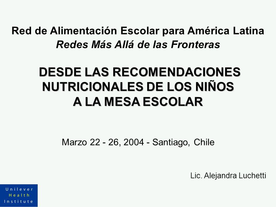 DESDE LAS RECOMENDACIONES NUTRICIONALES DE LOS NIÑOS A LA MESA ESCOLAR Red de Alimentación Escolar para América Latina Redes Más Allá de las Fronteras