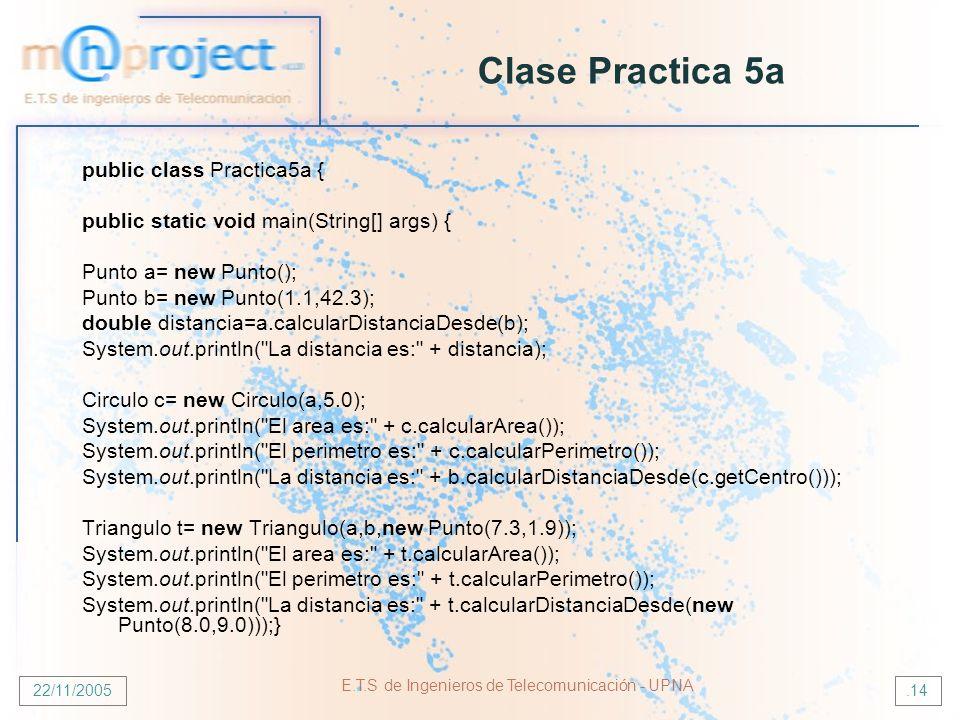 22/11/2005 E.T.S de Ingenieros de Telecomunicación - UPNA.14 public class Practica5a { public static void main(String[] args) { Punto a= new Punto(); Punto b= new Punto(1.1,42.3); double distancia=a.calcularDistanciaDesde(b); System.out.println( La distancia es: + distancia); Circulo c= new Circulo(a,5.0); System.out.println( El area es: + c.calcularArea()); System.out.println( El perimetro es: + c.calcularPerimetro()); System.out.println( La distancia es: + b.calcularDistanciaDesde(c.getCentro())); Triangulo t= new Triangulo(a,b,new Punto(7.3,1.9)); System.out.println( El area es: + t.calcularArea()); System.out.println( El perimetro es: + t.calcularPerimetro()); System.out.println( La distancia es: + t.calcularDistanciaDesde(new Punto(8.0,9.0)));} Clase Practica 5a
