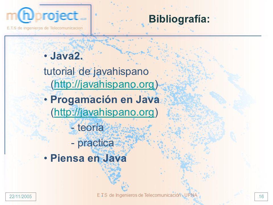 22/11/2005 E.T.S de Ingenieros de Telecomunicación - UPNA.16 Bibliografía: Java2. tutorial de javahispano (http://javahispano.org)http://javahispano.o