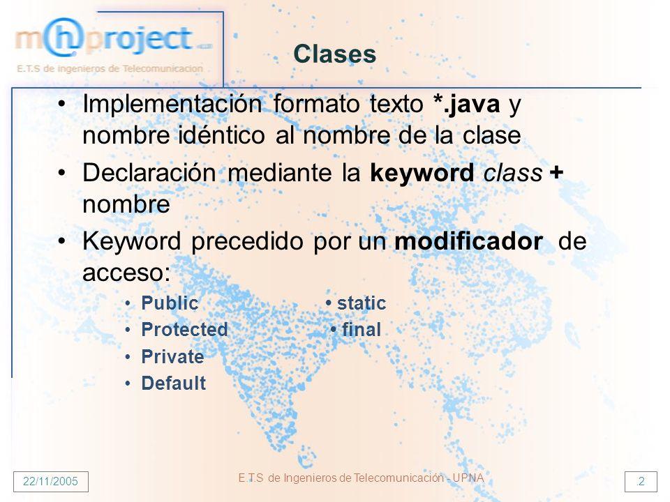 22/11/2005 E.T.S de Ingenieros de Telecomunicación - UPNA.2 Clases Implementación formato texto *.java y nombre idéntico al nombre de la clase Declaración mediante la keyword class + nombre Keyword precedido por un modificador de acceso: Public static Protected final Private Default
