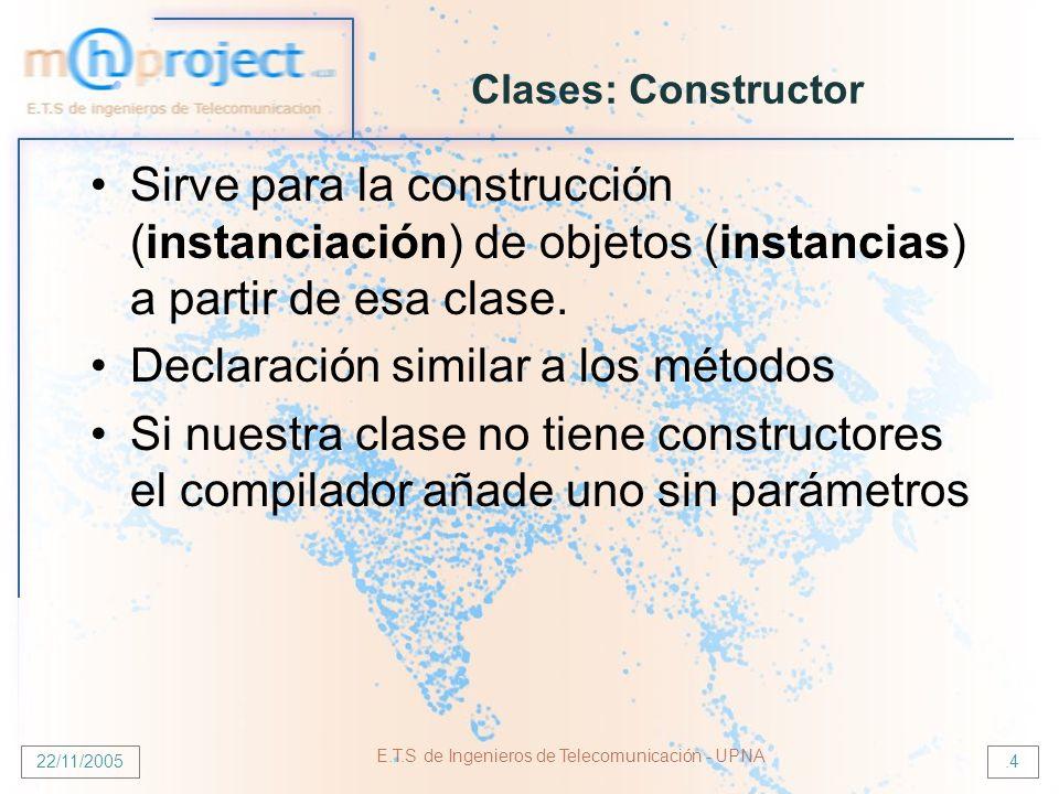 22/11/2005 E.T.S de Ingenieros de Telecomunicación - UPNA.4 Clases: Constructor Sirve para la construcción (instanciación) de objetos (instancias) a partir de esa clase.