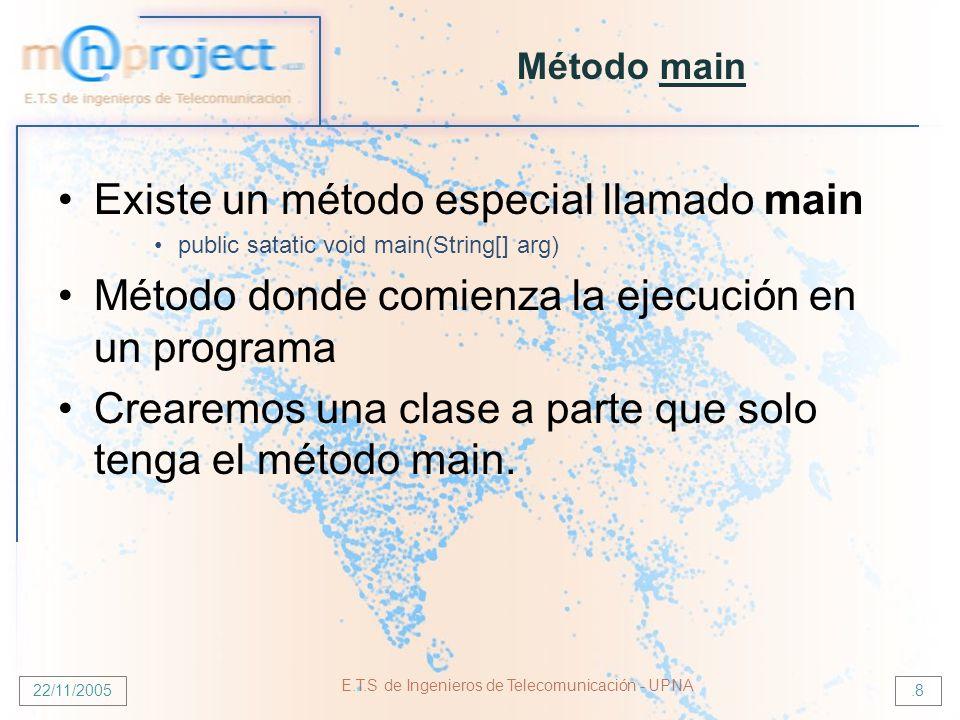 22/11/2005 E.T.S de Ingenieros de Telecomunicación - UPNA.8 Método main Existe un método especial llamado main public satatic void main(String[] arg) Método donde comienza la ejecución en un programa Crearemos una clase a parte que solo tenga el método main.