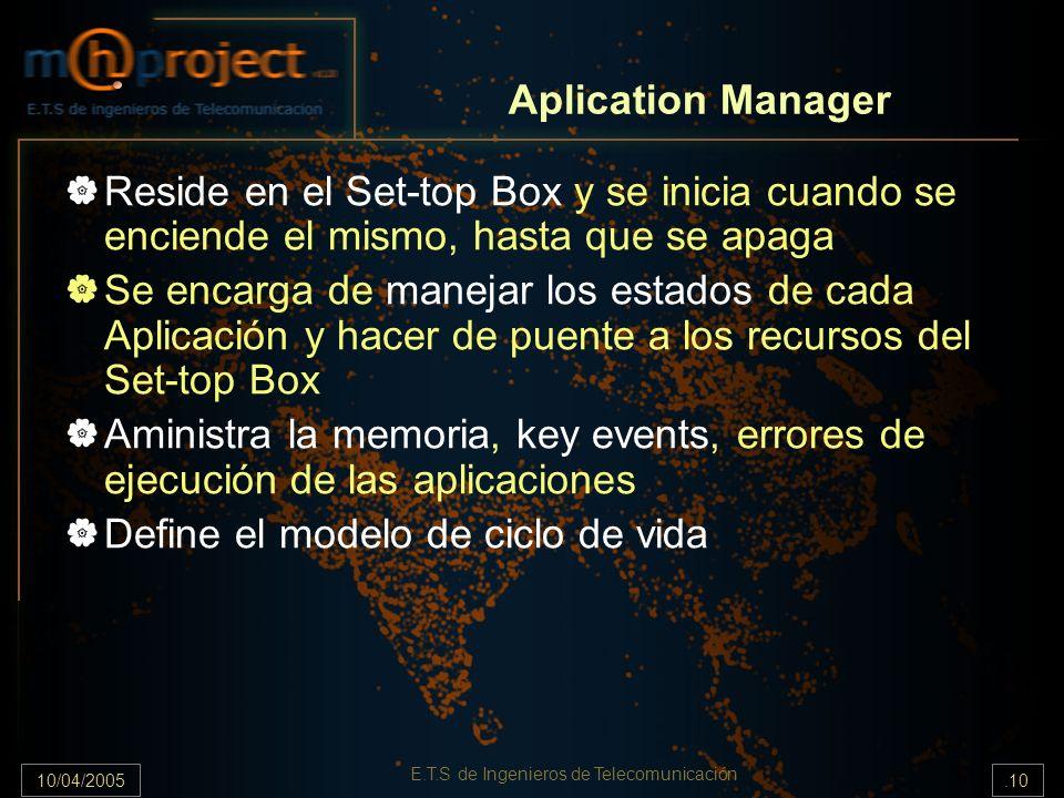 10/04/2005.10 E.T.S de Ingenieros de Telecomunicación Aplication Manager Reside en el Set-top Box y se inicia cuando se enciende el mismo, hasta que se apaga Se encarga de manejar los estados de cada Aplicación y hacer de puente a los recursos del Set-top Box Aministra la memoria, key events, errores de ejecución de las aplicaciones Define el modelo de ciclo de vida