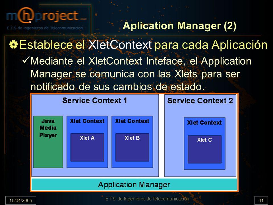 10/04/2005.11 E.T.S de Ingenieros de Telecomunicación Aplication Manager (2) Establece el XletContext para cada Aplicación Mediante el XletContext Inteface, el Application Manager se comunica con las Xlets para ser notificado de sus cambios de estado.