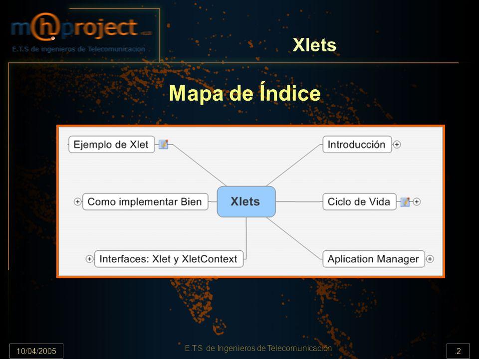 10/04/2005.2 E.T.S de Ingenieros de Telecomunicación Xlets Mapa de Índice