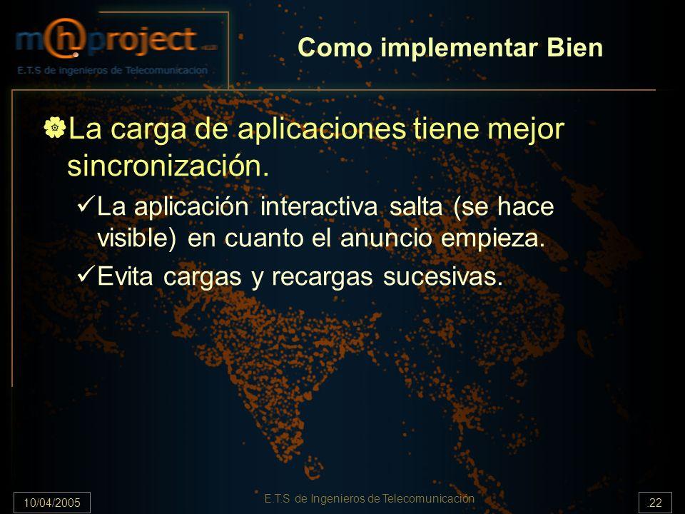10/04/2005.22 E.T.S de Ingenieros de Telecomunicación La carga de aplicaciones tiene mejor sincronización. La aplicación interactiva salta (se hace vi