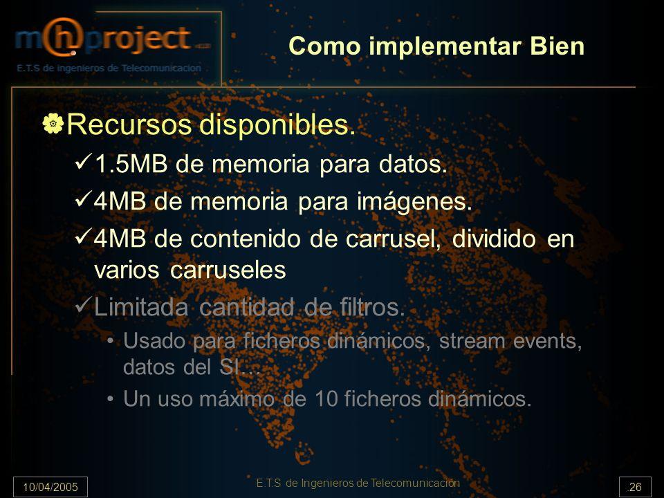 10/04/2005.26 E.T.S de Ingenieros de Telecomunicación Recursos disponibles. 1.5MB de memoria para datos. 4MB de memoria para imágenes. 4MB de contenid