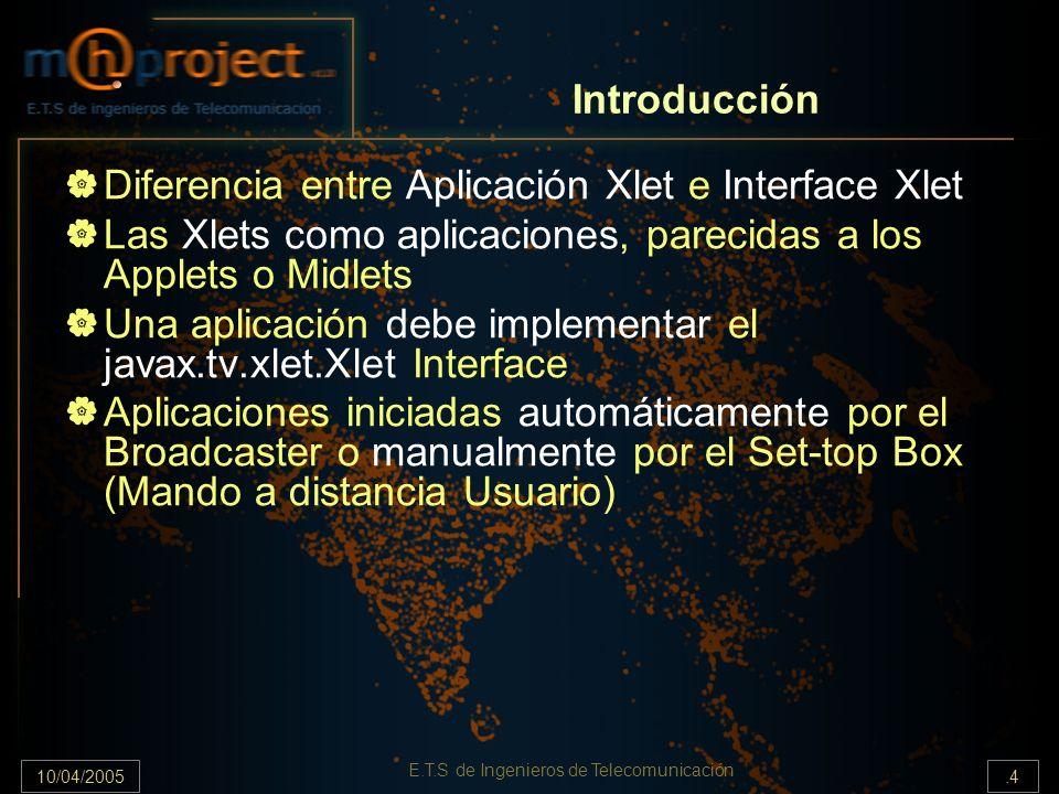 10/04/2005.5 E.T.S de Ingenieros de Telecomunicación Cómo localizamos a la Xlet.
