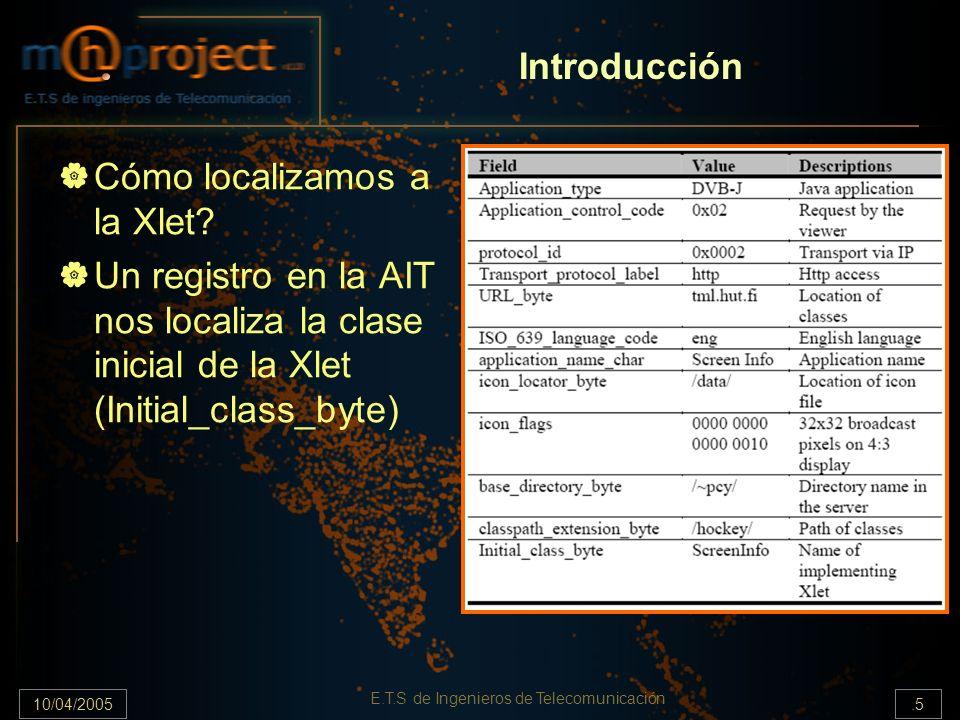 10/04/2005.5 E.T.S de Ingenieros de Telecomunicación Cómo localizamos a la Xlet? Un registro en la AIT nos localiza la clase inicial de la Xlet (Initi
