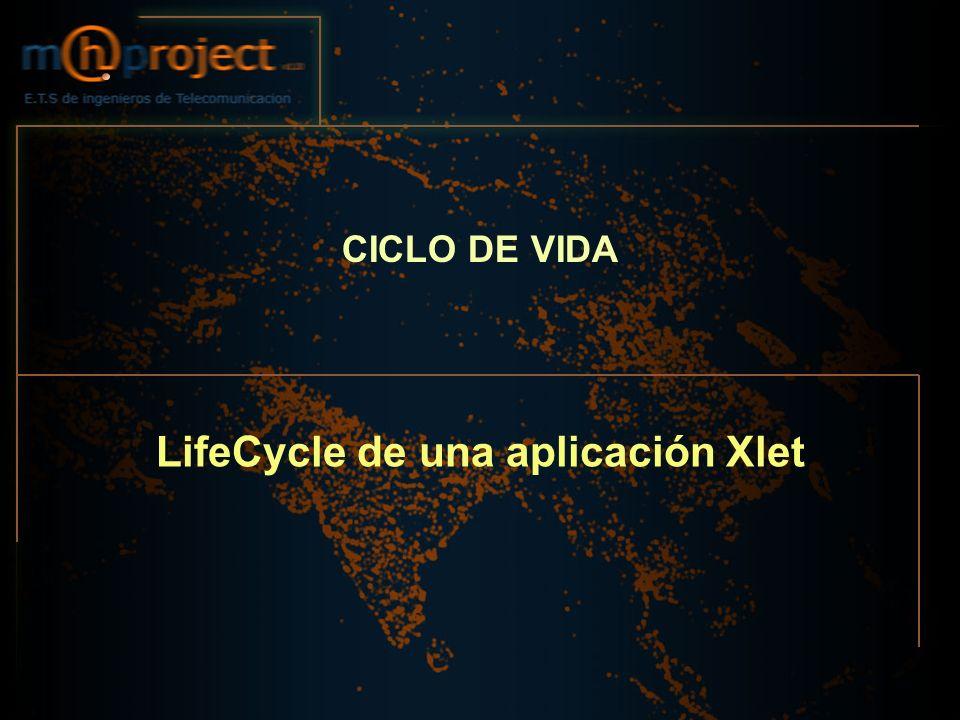 10/04/2005.37 E.T.S de Ingenieros de Telecomunicación Ejemplo de Xlet public class MyFirstExampleXlet implements javax.tv.xlet.Xlet { public MyFirstExampleXlet() {…} public void initXlet(javax.tv.xlet.XletContext context) throws javax.tv.xlet.XletStateChangeException {…} public void startXlet() throws javax.tv.xlet.XletStateChangeException {…} public void pauseXlet() {…} public void destroyXlet(boolean unconditional) throws javax.tv.xlet.XletStateChangeException {…} }
