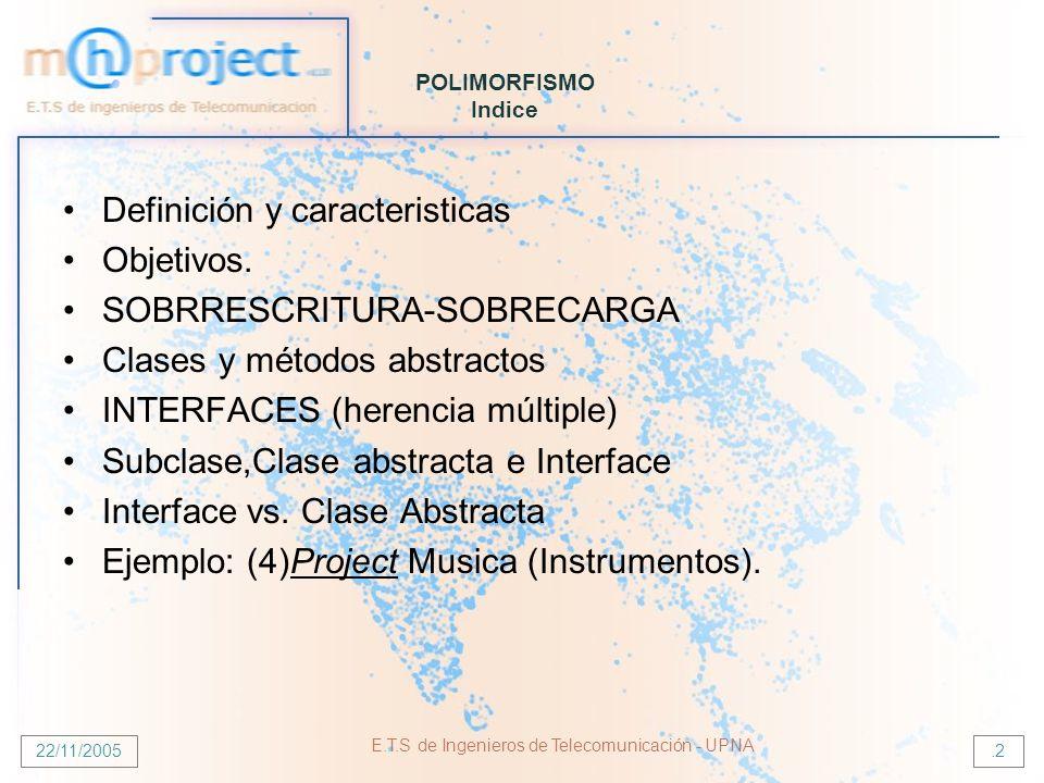 22/11/2005 E.T.S de Ingenieros de Telecomunicación - UPNA.2 POLIMORFISMO Indice Definición y caracteristicas Objetivos. SOBRRESCRITURA-SOBRECARGA Clas