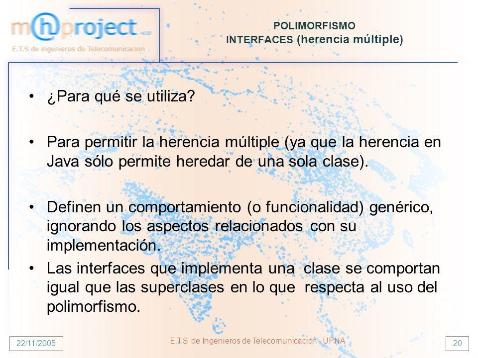 22/11/2005 E.T.S de Ingenieros de Telecomunicación - UPNA.20 POLIMORFISMO INTERFACES (herencia múltiple) ¿Para qué se utiliza? Para permitir la herenc