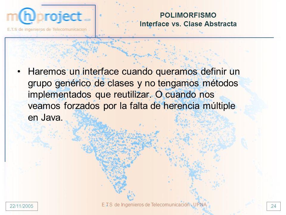 22/11/2005 E.T.S de Ingenieros de Telecomunicación - UPNA.24 POLIMORFISMO Interface vs. Clase Abstracta Haremos un interface cuando queramos definir u