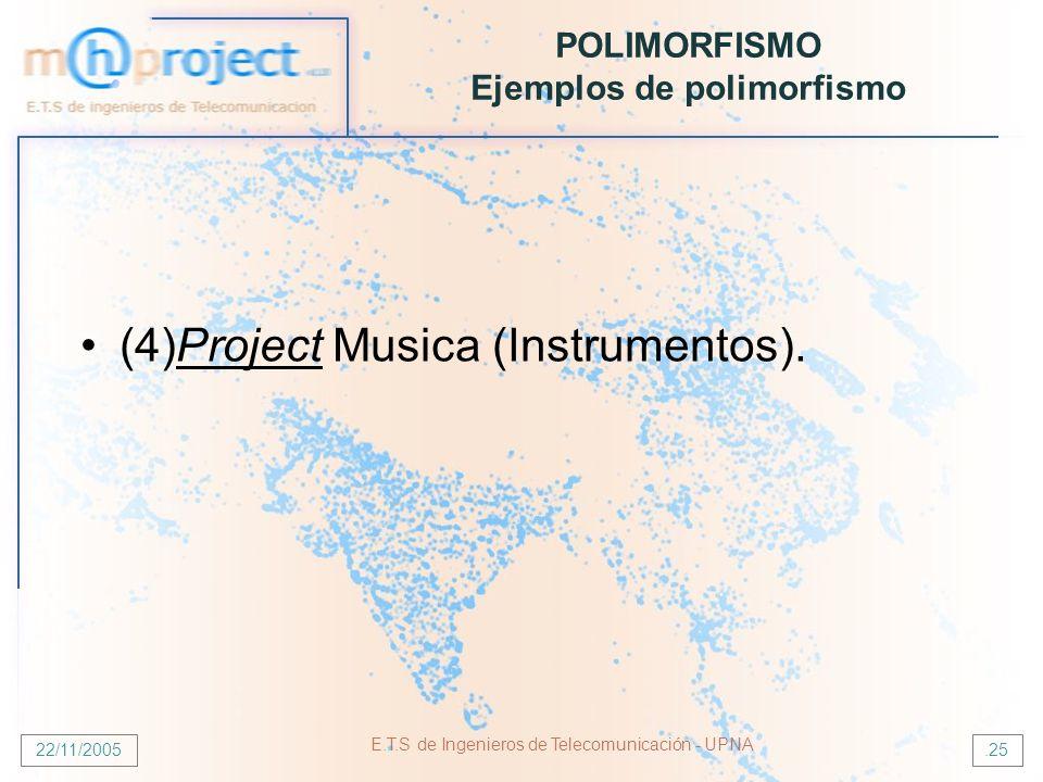 22/11/2005 E.T.S de Ingenieros de Telecomunicación - UPNA.25 POLIMORFISMO Ejemplos de polimorfismo (4)Project Musica (Instrumentos).
