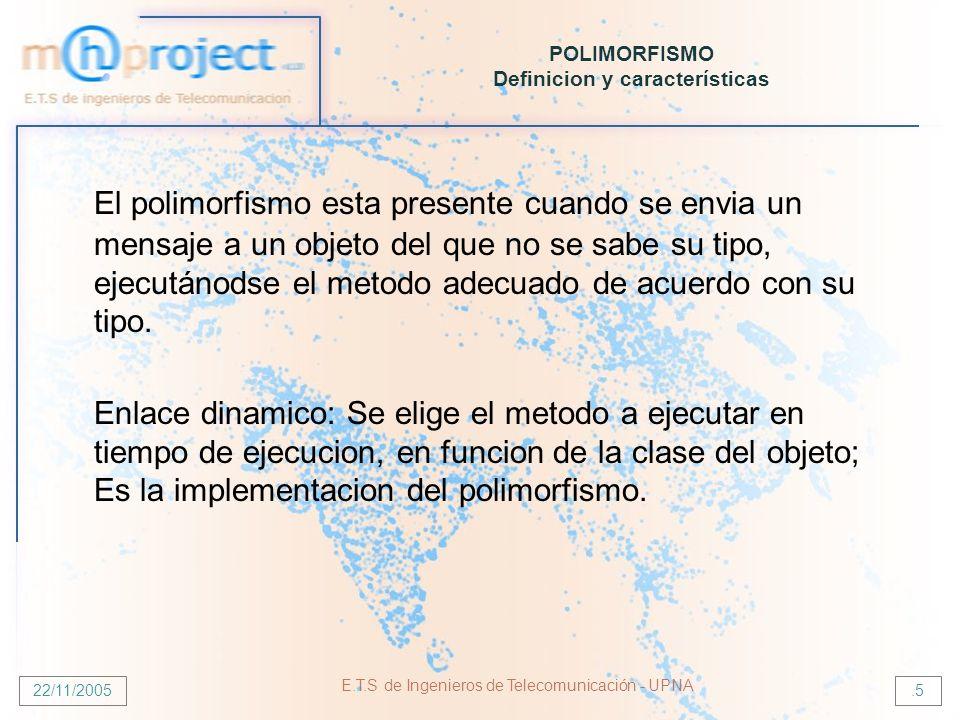 22/11/2005 E.T.S de Ingenieros de Telecomunicación - UPNA.16 POLIMORFISMO SOBREESCRITURA-SOBRECARGA SOBREESCRITURA: La subclase reimplementa el método heredado (cambian el comportamiento).