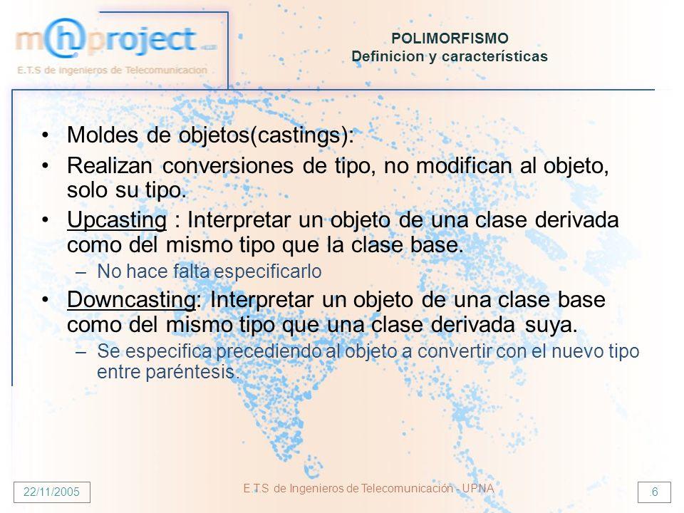 22/11/2005 E.T.S de Ingenieros de Telecomunicación - UPNA.6 POLIMORFISMO Definicion y características Moldes de objetos(castings): Realizan conversion