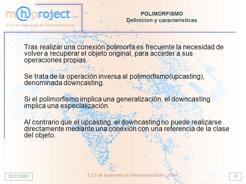 22/11/2005 E.T.S de Ingenieros de Telecomunicación - UPNA.8 POLIMORFISMO Definicion y características Tras realizar una conexión polimorfa es frecuent