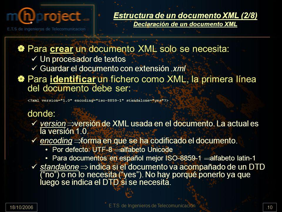 18/10/2006.10 E.T.S de Ingenieros de Telecomunicación Estructura de un documento XML (2/8) Declaración de un documento XML Para crear un documento XML solo se necesita: Un procesador de textos Guardar el documento con extensión.xml Para identificar un fichero como XML, la primera línea del documento debe ser: donde: version versión de XML usada en el documento.