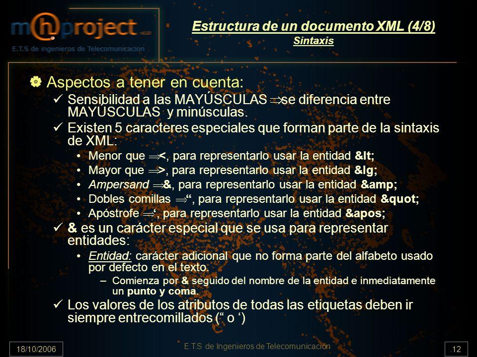 18/10/2006.12 E.T.S de Ingenieros de Telecomunicación Estructura de un documento XML (4/8) Sintaxis Aspectos a tener en cuenta: Sensibilidad a las MAYÚSCULAS se diferencia entre MAYÚSCULAS y minúsculas.