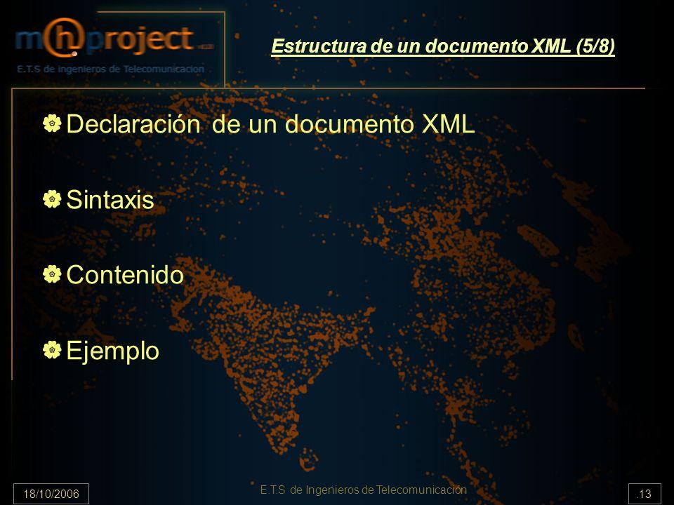18/10/2006.13 E.T.S de Ingenieros de Telecomunicación Estructura de un documento XML (5/8) Declaración de un documento XML Sintaxis Contenido Ejemplo
