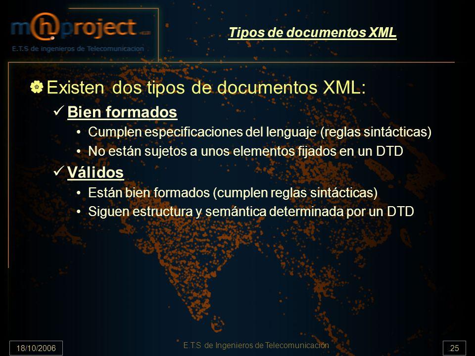 18/10/2006.25 E.T.S de Ingenieros de Telecomunicación Tipos de documentos XML Existen dos tipos de documentos XML: Bien formados Cumplen especificaciones del lenguaje (reglas sintácticas) No están sujetos a unos elementos fijados en un DTD Válidos Están bien formados (cumplen reglas sintácticas) Siguen estructura y semántica determinada por un DTD