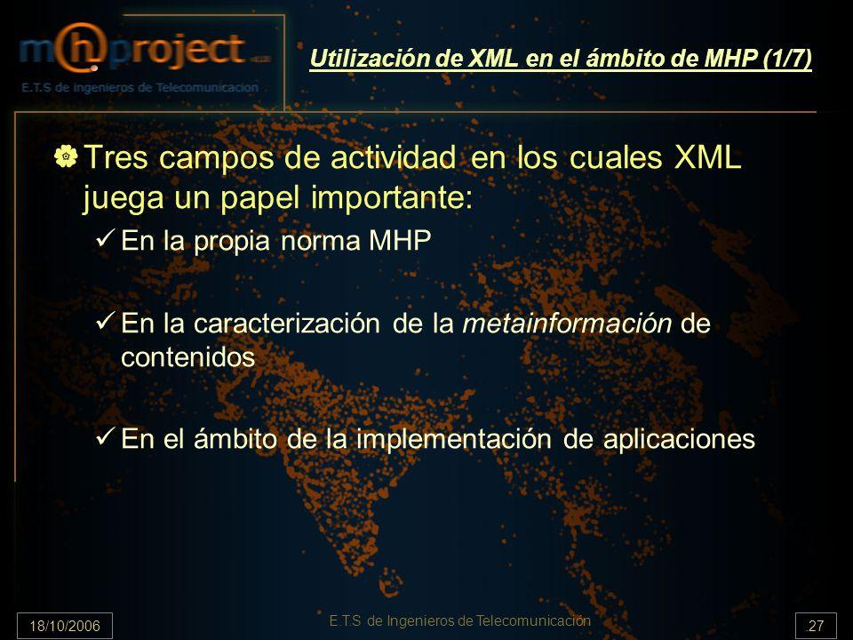 18/10/2006.27 E.T.S de Ingenieros de Telecomunicación Utilización de XML en el ámbito de MHP (1/7) Tres campos de actividad en los cuales XML juega un papel importante: En la propia norma MHP En la caracterización de la metainformación de contenidos En el ámbito de la implementación de aplicaciones