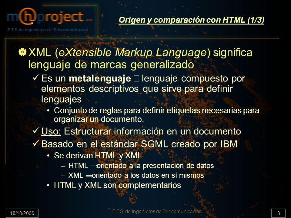 18/10/2006.3 E.T.S de Ingenieros de Telecomunicación Origen y comparación con HTML (1/3) XML (eXtensible Markup Language) significa lenguaje de marcas generalizado Es un metalenguaje lenguaje compuesto por elementos descriptivos que sirve para definir lenguajes Conjunto de reglas para definir etiquetas necesarias para organizar un documento.