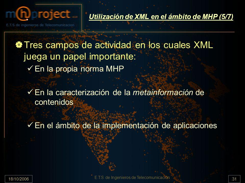 18/10/2006.31 E.T.S de Ingenieros de Telecomunicación Utilización de XML en el ámbito de MHP (5/7) Tres campos de actividad en los cuales XML juega un papel importante: En la propia norma MHP En la caracterización de la metainformación de contenidos En el ámbito de la implementación de aplicaciones
