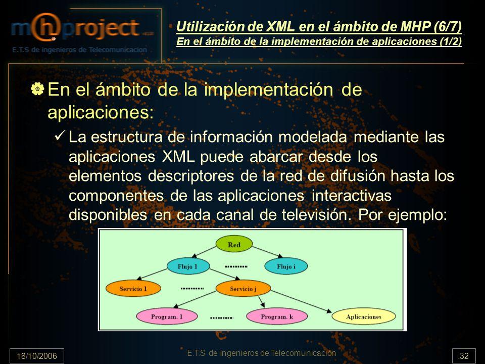 18/10/2006.32 E.T.S de Ingenieros de Telecomunicación Utilización de XML en el ámbito de MHP (6/7) En el ámbito de la implementación de aplicaciones (1/2) En el ámbito de la implementación de aplicaciones: La estructura de información modelada mediante las aplicaciones XML puede abarcar desde los elementos descriptores de la red de difusión hasta los componentes de las aplicaciones interactivas disponibles en cada canal de televisión.