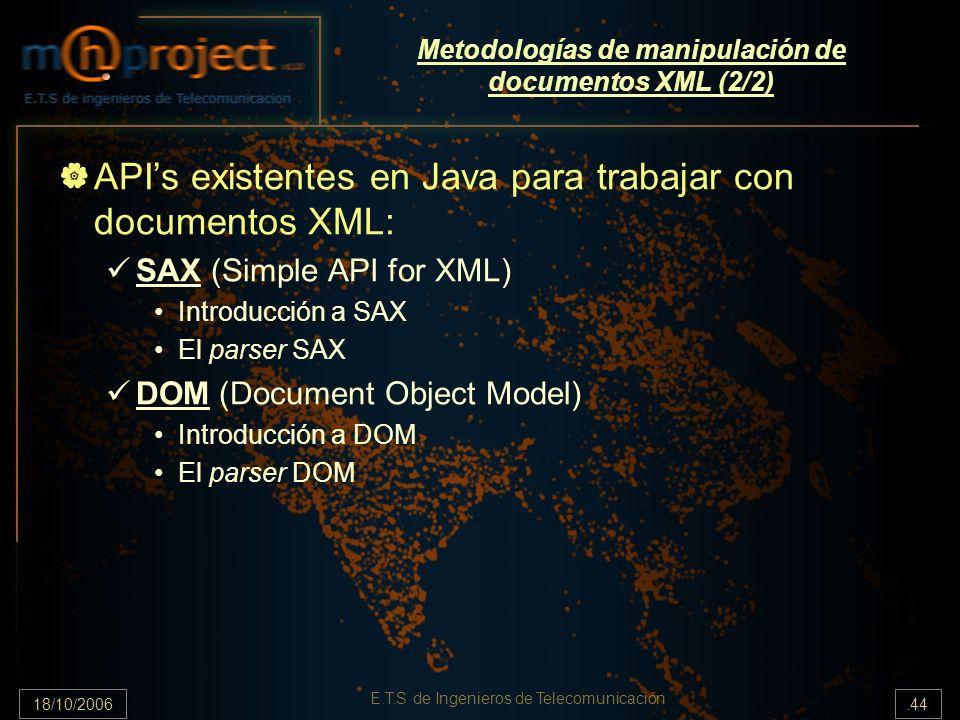18/10/2006.44 E.T.S de Ingenieros de Telecomunicación Metodologías de manipulación de documentos XML (2/2) APIs existentes en Java para trabajar con documentos XML: SAX (Simple API for XML) Introducción a SAX El parser SAX DOM (Document Object Model) Introducción a DOM El parser DOM