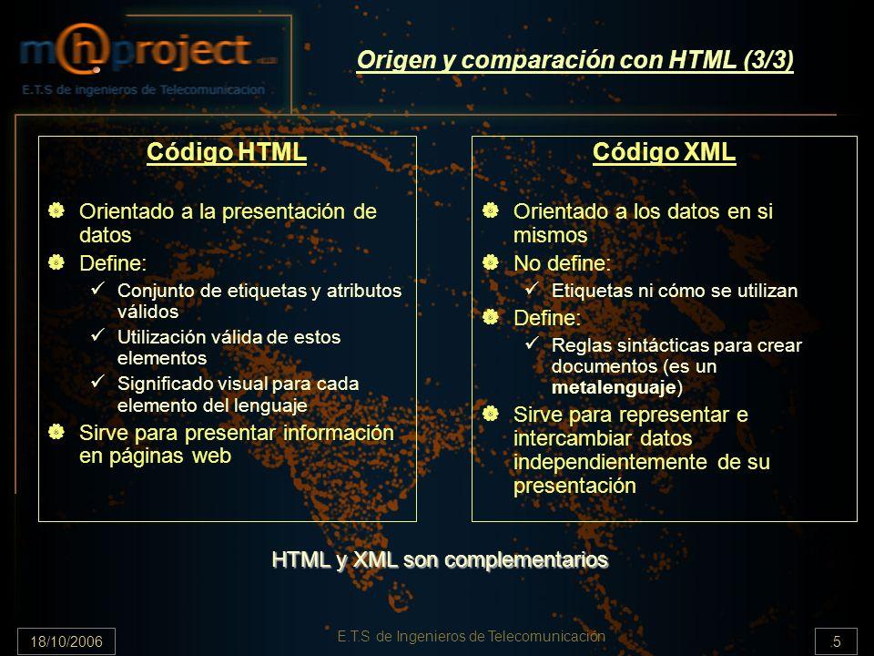 18/10/2006.5 E.T.S de Ingenieros de Telecomunicación Origen y comparación con HTML (3/3) Código XML Orientado a los datos en si mismos No define: Etiquetas ni cómo se utilizan Define: Reglas sintácticas para crear documentos (es un metalenguaje) Sirve para representar e intercambiar datos independientemente de su presentación Código HTML Orientado a la presentación de datos Define: Conjunto de etiquetas y atributos válidos Utilización válida de estos elementos Significado visual para cada elemento del lenguaje Sirve para presentar información en páginas web HTML y XML son complementarios