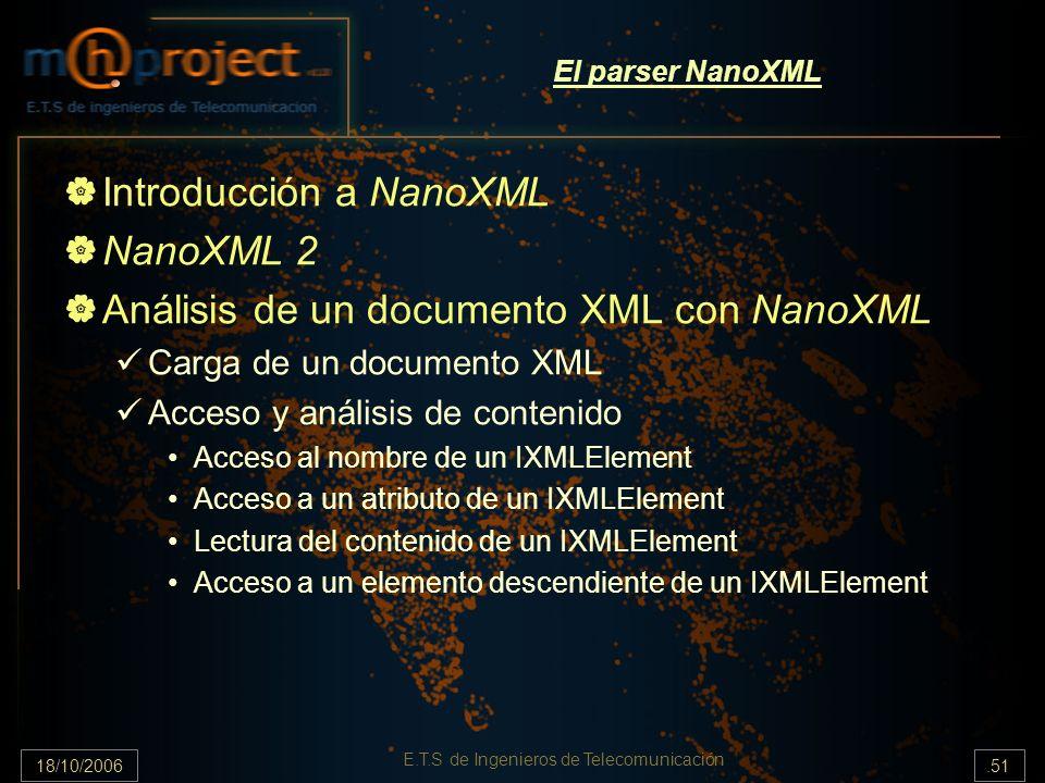 18/10/2006.51 E.T.S de Ingenieros de Telecomunicación El parser NanoXML Introducción a NanoXML NanoXML 2 Análisis de un documento XML con NanoXML Carga de un documento XML Acceso y análisis de contenido Acceso al nombre de un IXMLElement Acceso a un atributo de un IXMLElement Lectura del contenido de un IXMLElement Acceso a un elemento descendiente de un IXMLElement