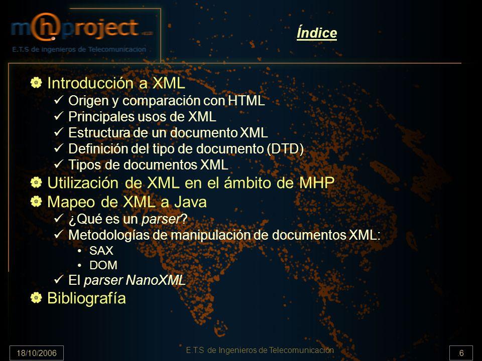 18/10/2006.17 E.T.S de Ingenieros de Telecomunicación Índice Introducción a XML Origen y comparación con HTML Principales usos de XML Estructura de un documento XML Definición del tipo de documento (DTD) Tipos de documentos XML Utilización de XML en el ámbito de MHP Mapeo de XML a Java ¿Qué es un parser.