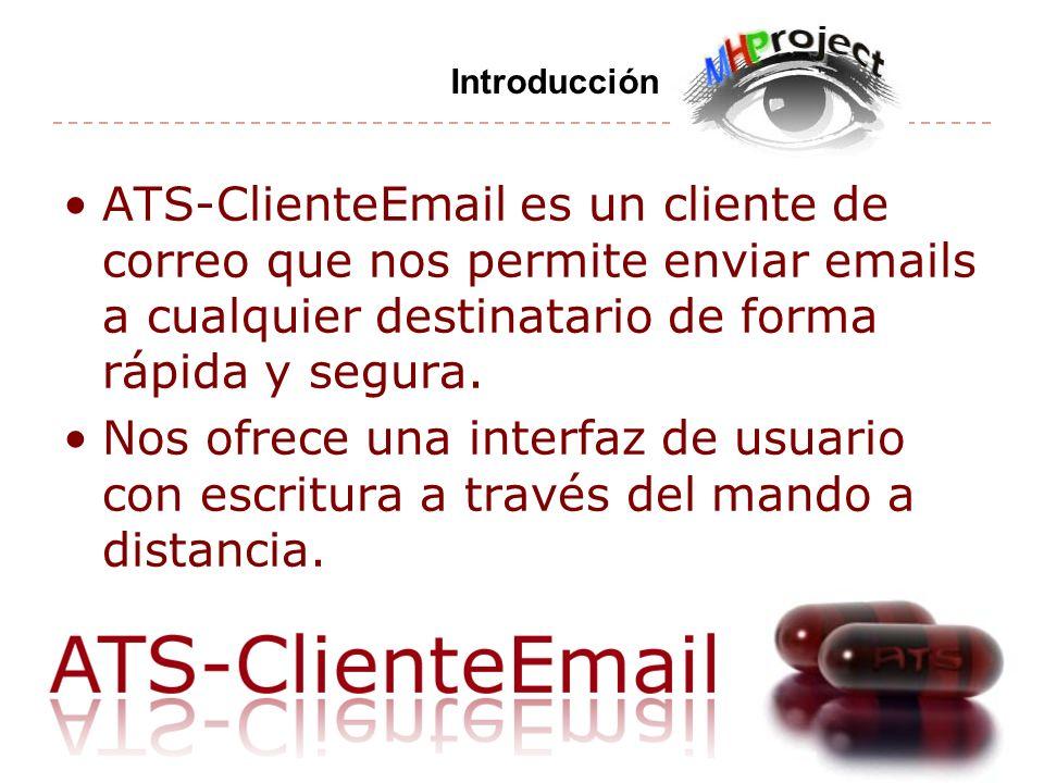 ATS-ClienteEmail es un cliente de correo que nos permite enviar emails a cualquier destinatario de forma rápida y segura. Nos ofrece una interfaz de u