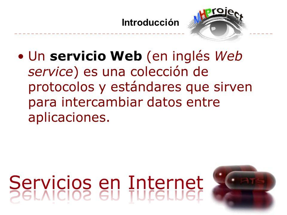 Un servicio Web (en inglés Web service) es una colección de protocolos y estándares que sirven para intercambiar datos entre aplicaciones. Introducció