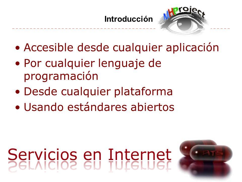 Accesible desde cualquier aplicación Por cualquier lenguaje de programación Desde cualquier plataforma Usando estándares abiertos Introducción