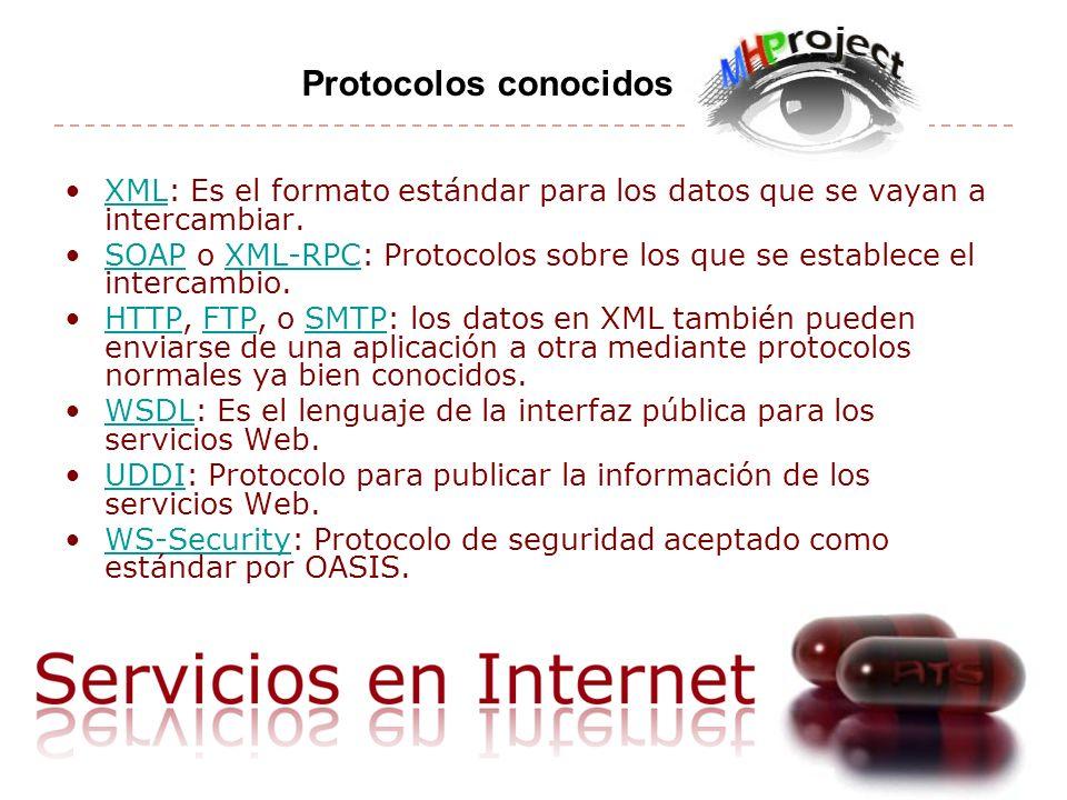 XML: Es el formato estándar para los datos que se vayan a intercambiar.XML SOAP o XML-RPC: Protocolos sobre los que se establece el intercambio.SOAPXML-RPC HTTP, FTP, o SMTP: los datos en XML también pueden enviarse de una aplicación a otra mediante protocolos normales ya bien conocidos.HTTPFTPSMTP WSDL: Es el lenguaje de la interfaz pública para los servicios Web.WSDL UDDI: Protocolo para publicar la información de los servicios Web.UDDI WS-Security: Protocolo de seguridad aceptado como estándar por OASIS.WS-Security Protocolos conocidos
