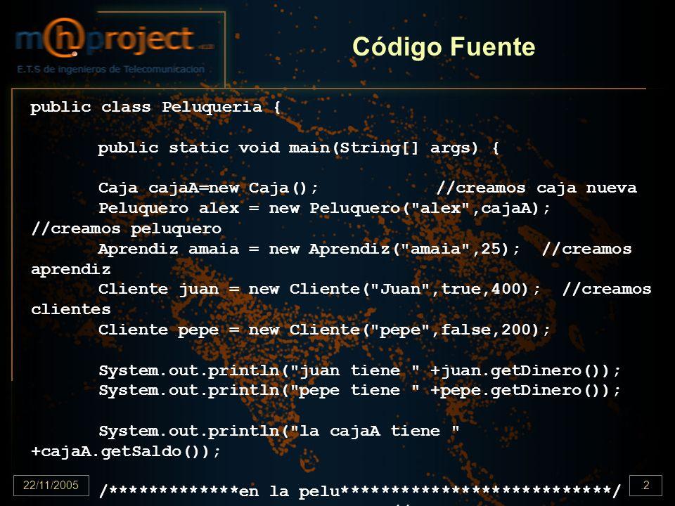 22/11/2005.2 Código Fuente public class Peluqueria { public static void main(String[] args) { Caja cajaA=new Caja();//creamos caja nueva Peluquero ale