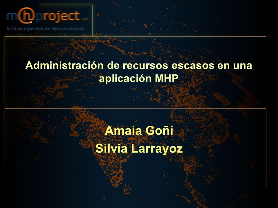 Administración de recursos escasos en una aplicación MHP Amaia Goñi Silvia Larrayoz