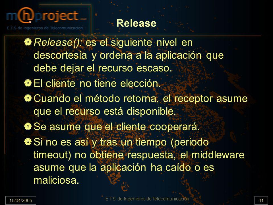 10/04/2005.11 E.T.S de Ingenieros de Telecomunicación Release Release(): es el siguiente nivel en descortesía y ordena a la aplicación que debe dejar