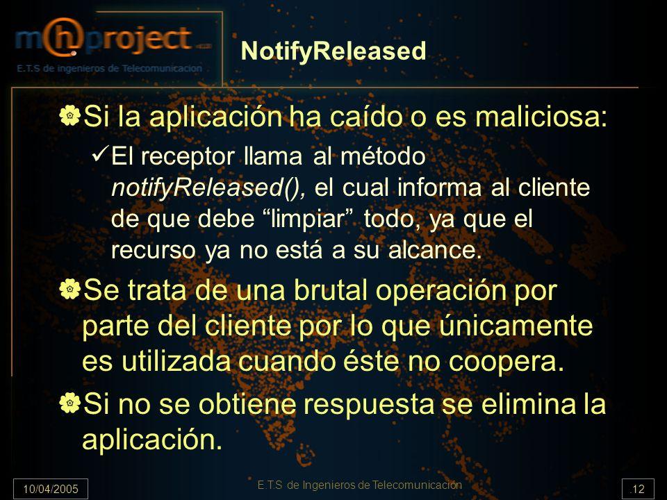 10/04/2005.12 E.T.S de Ingenieros de Telecomunicación NotifyReleased Si la aplicación ha caído o es maliciosa: El receptor llama al método notifyRelea
