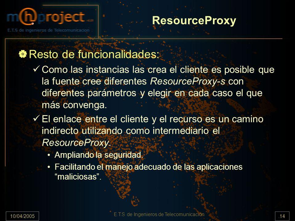 10/04/2005.14 E.T.S de Ingenieros de Telecomunicación ResourceProxy Resto de funcionalidades: Como las instancias las crea el cliente es posible que l