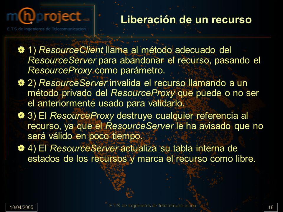 10/04/2005.18 E.T.S de Ingenieros de Telecomunicación Liberación de un recurso 1) ResourceClient llama al método adecuado del ResourceServer para aban