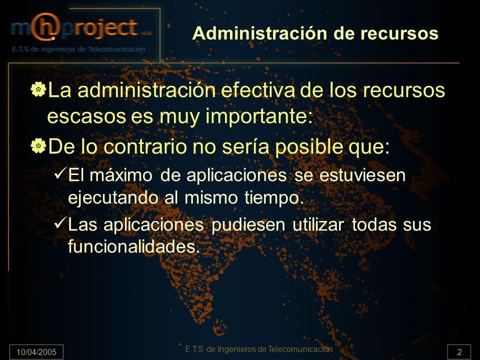 10/04/2005.2 E.T.S de Ingenieros de Telecomunicación Administración de recursos La administración efectiva de los recursos escasos es muy importante: